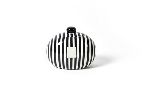 HAPPY EVERYTHING BLACK STRIPE MINI COOKIE JAR