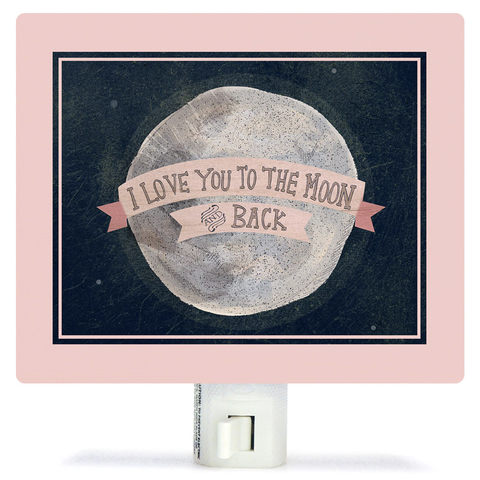 I LOVE YOU TO THE MOON - PINK BY YELLOW BUTTON STUDIO NIGHT LIGHT, Greenbox Art - A. Dodson's