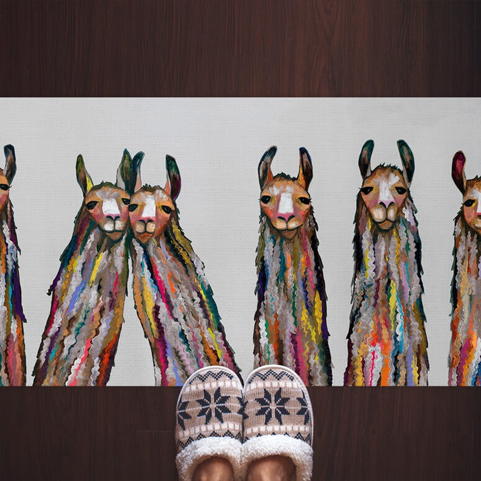 SIX LIVELY LLAMAS ON GREY  FLOORCLOTH by Eli Halpin