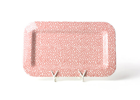RED SMALL DOT MINI RECTANGLE ENTERTAINING PLATTER