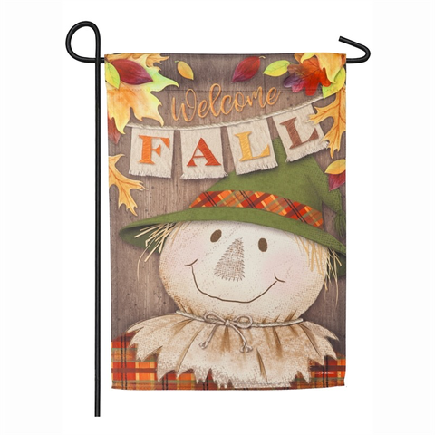 WELCOME FALL SCARECROW GARDEN SUEDE FLAG, Evergreen - A. Dodson's