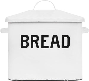White Enameled Metal Distressed Bread Box with Lid