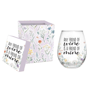 ANY FRIEND OF WINE STEMLESS WINE GLASS WITH BOX