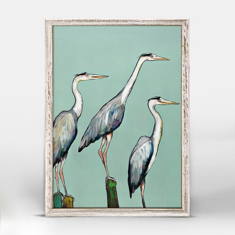 HERON FOCUS  RUSTIC WHITE MINI FRAMED CANVAS, Greenbox Art - A. Dodson's