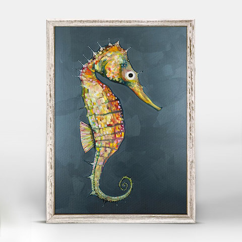 FLOATING SEAHORSE BLUE BY ELI HALPIN MINI FRAMED CANVAS
