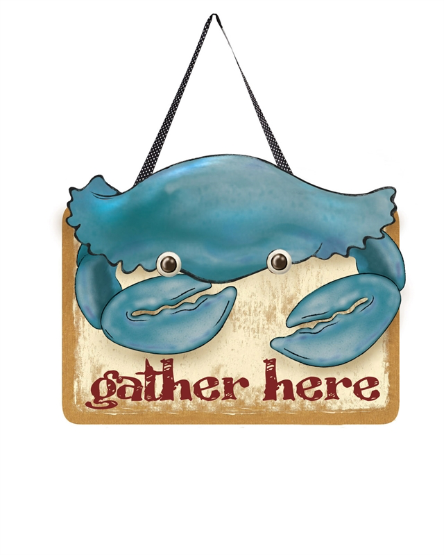 COASTAL CRAB FELT DOOR DECOR