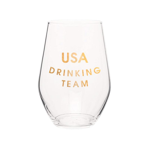 USA DRINKING TEAM STEMLESS WINE GLASS