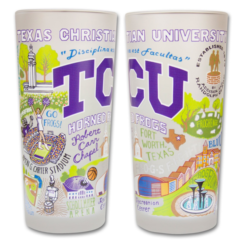 TEXAS CHRISTIAN UNIVERSITY GLASS BY CATSTUDIO