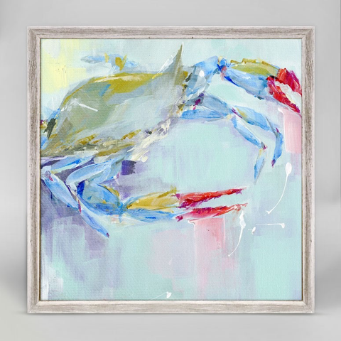 CRAB BLUE BY SUSAN PEPE MINI FRAMED CANVAS