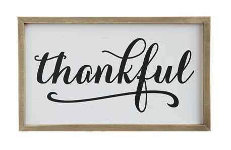 "PINE WOOD FRAMED ""THANKFUL"", Creative Co-op - A. Dodson's"