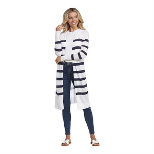 BEAU STRIPED DUSTER WHITE