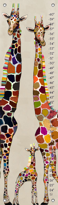 GIRAFFE FAMILY ON CREAM BY ELI HALPIN GROWTH CHART, Greenbox Art - A. Dodson's