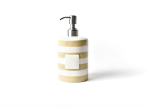 HAPPY EVERYTHING NEUTRAL STRIPE MINI CYLINDER SOAP PUMP, Happy Everything - A. Dodson's