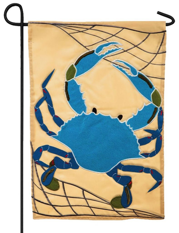 BLUE CRAB GARDEN APPLIQUE FLAG