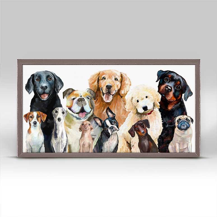 DOG BUNCH RUSTIC NATURAL MINI FRAMED CANVAS - 10x5