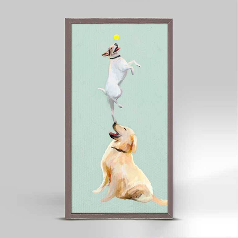DOG GAMES RUSTIC NATURAL MINI FRAMED CANVAS - 5x10, Greenbox Art - A. Dodson's