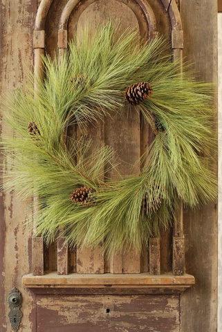 LONG NEEDLE WREATH WITH PINE CONES, Lancster - A. Dodson's