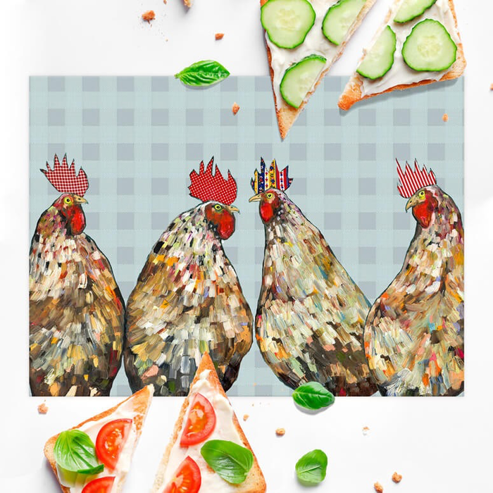 ROOSTERS PLAID VINYL PLACEMAT - 19x14