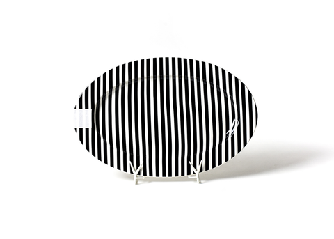 HAPPY EVERYTHING BLACK STRIPE BIG 20 OVAL ENTERTAINING PLATTER