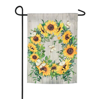 SUNFLOWER WREATH GARDEN SUEDE FLAG