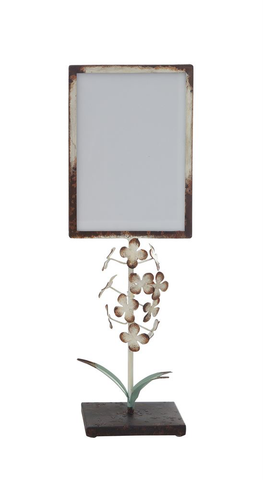 "15"" METAL PHOTO FRAME WITH TOLE FLOWERS ON STAND, Creative Co-Op - A. Dodson's"