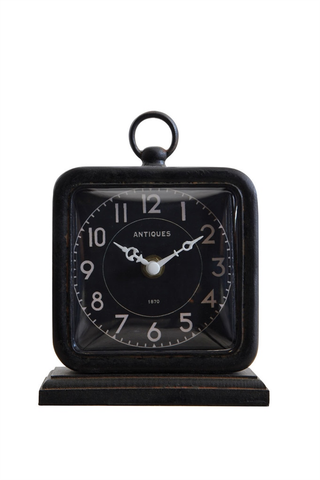 PEWTER TABLE CLOCK - BLACK