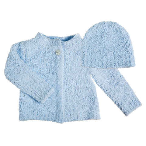 LUXE CHENILLE BABY CARDIGAN AND HAT SET - BLUE, Evergreen - A. Dodson's