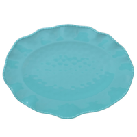 "PERLETTE TEAL OVAL PLATTER 18"" X 13.5"", Certified International - A. Dodson's"