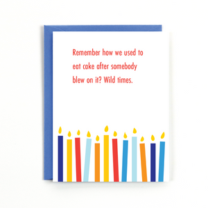 BLOWING ON CAKE CARD