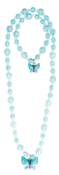 JAZZY BEAD BUTTERFLY NECKLACE AND BRACELET SET - 3 ASST