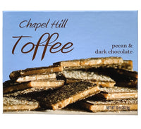 Each piece is coated on both sides with a top-secret blend of dark chocolates. The smooth layers are finished off with the sprinkling of pecans that gives Chapel Hill Toffee it's iconic look and distinctive southern twist!