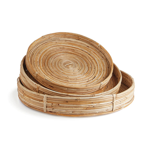 CANE RATTAN ROUND TRAY, SET OF 3