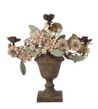 METAL CANDELABRA W/ TOLE FLOWERS IN URN