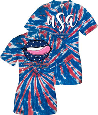 Simply Southern USA Lips Shirt in Tie Dye