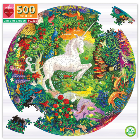 UNICORN GARDEN ROUND PUZZLE, 500 PC.