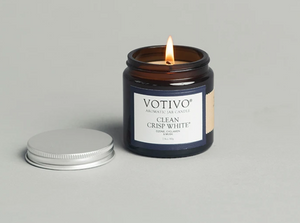 2.8OZ GLASS JAR CANDLE CLEAN WHITE CRISIP by VOTIVO