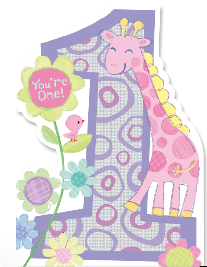 GIRAFFE BIRTHDAY CARD - 1 YEAR OLD