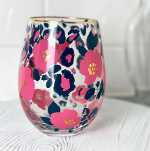 Glass Stemless Wine Wild Posy