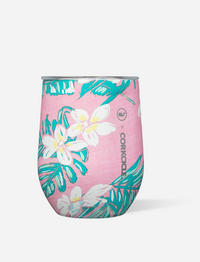 12oz VINEYARD VINES PINK TROPICAL FLOWERS STEMLESS CORKCICLE