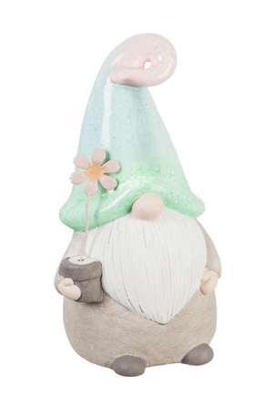 "10""H Ceramic Gnome with Ombre Hat Garden Statuary"