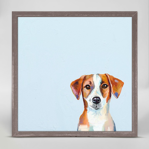 BEST FRIEND - JACK RUSSELL RUSTIC NATURAL MINI FRAMED CANVAS -6x6, Greenbox Art - A. Dodson's