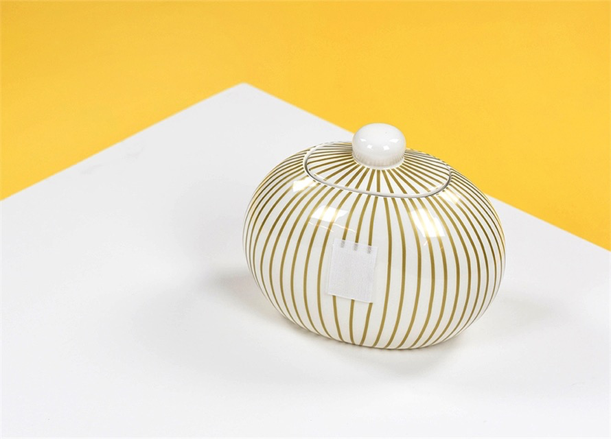 HAPPY EVERYTHING GOLD STRIPE MINI COOKIE JAR, Happy Everything - A. Dodson's
