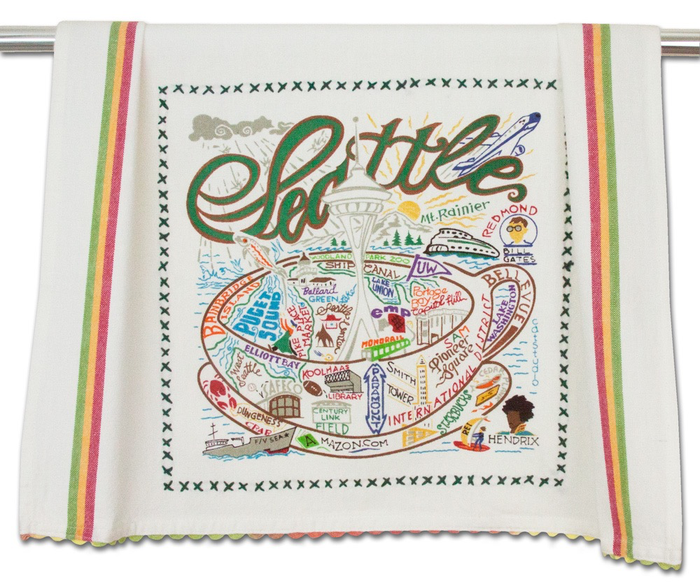 SEATTLE DISH TOWEL BY CATSTUDIO