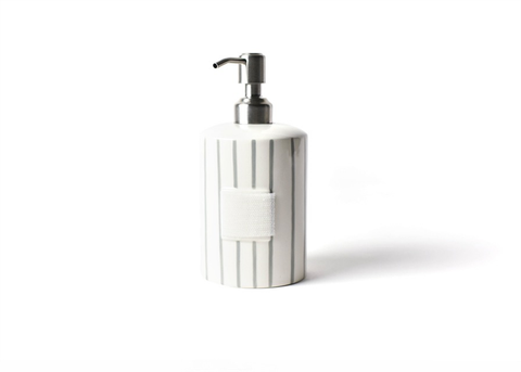 HAPPY EVERYTHING STONE SKINNY STRIPE MINI CYLINDER SOAP PUMP, Happy Everything - A. Dodson's