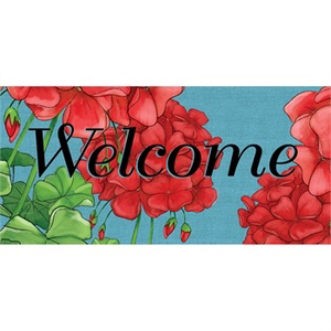GERANIUM WELCOME SASSAFRAS SWITCH MAT, Evergreen - A. Dodson's