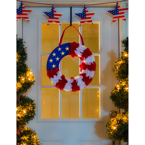 PATRIOTIC WREATH LIT DOOR DECOR
