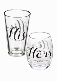 HIS AND HERS WINE AND PINT GLASSWARE