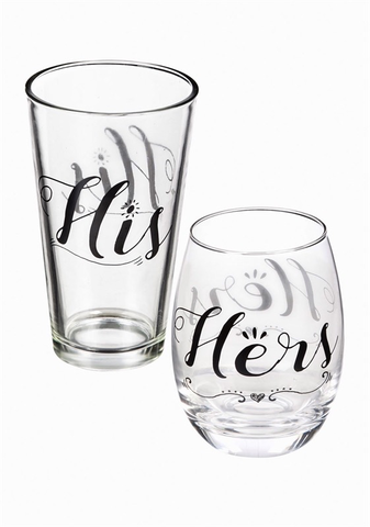 WINE GLASS & BEER CUP GIFT SET
