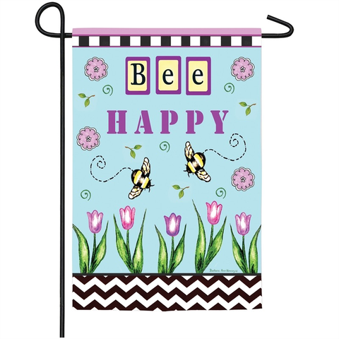 BEE HAPPY GARDEN SUEDE FLAG, Evergreen - A. Dodson's