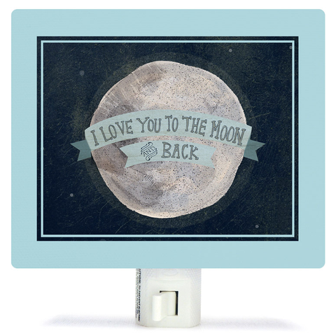 I LOVE YOU TO THE MOON - BLUE BY YELLOW BUTTON STUDIO NIGHT LIGHT, Greenbox Art - A. Dodson's